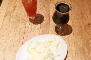 Otsumami cheese, stout, and pomegranate tea