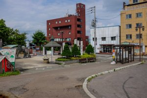 As you exit, the Niseko Bus stop is located on your left on the corner