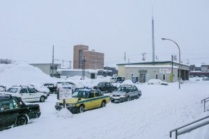 Kutchan Station looks very different in the winter