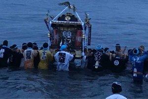 Mikoshi in the sea
