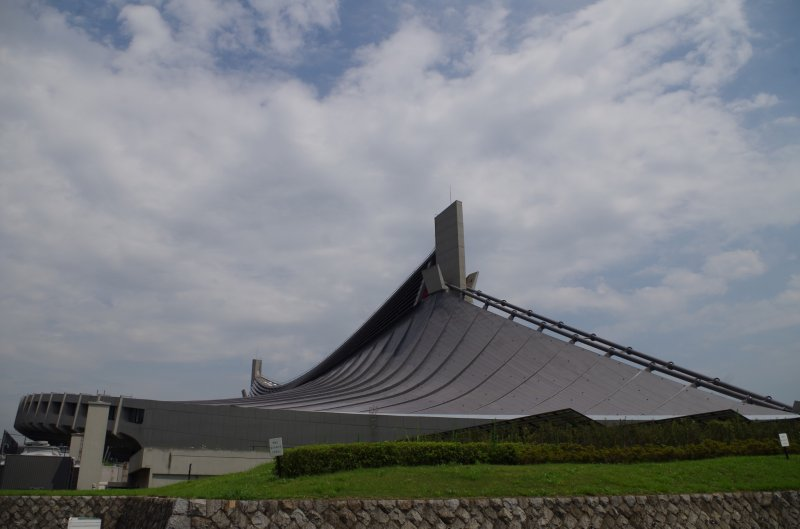 The iconic roof of the first gymnasium imitating the traditional design of Japanese shrine.