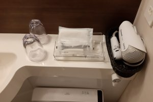 A fan and toiletries