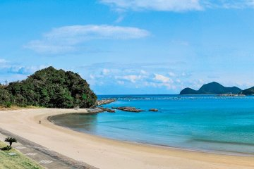Shimoaso Beach, the #1 swimming beach in Kyushu, has a campground as well