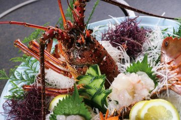 Fresh spiny lobster, or isei-ebi, is caught locally