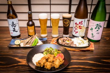 Chicken nanban and other local specialties  with drinks from the Mitsukura