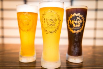 Hideji Beer on tap at the brewery's restaurant and bar downtown