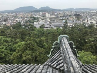 From the top of Matsue Castle looking out over the city