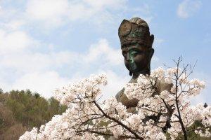 Большая статуя Каннон и сакура