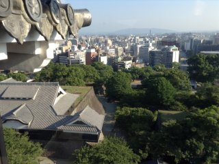 A view from the top tower shows that Kumamoto is a city full of modern buildings mixed with nature's green stuff.