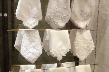 These beautiful white handkerchiefs are popular wedding gifts.