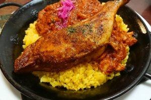 The Mexican-style chicken served over saffron koshihikari rice at Family Dining Kodamaya, across from Urasa Station