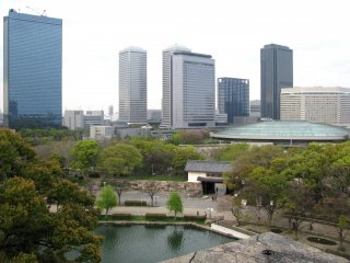 The view of Osaka from the castle's grounds