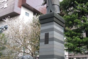 Tokugawa Ieyasu stands high supported by a turtle