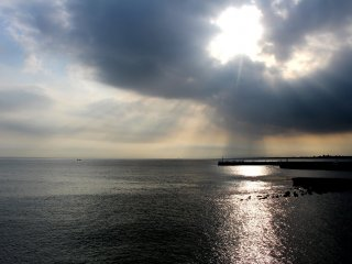 The seascape with dramatic lighting
