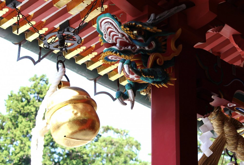 A big bell at a Shinto shrine