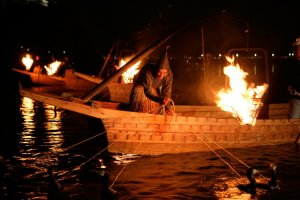 Luring the sweetfish with fire
