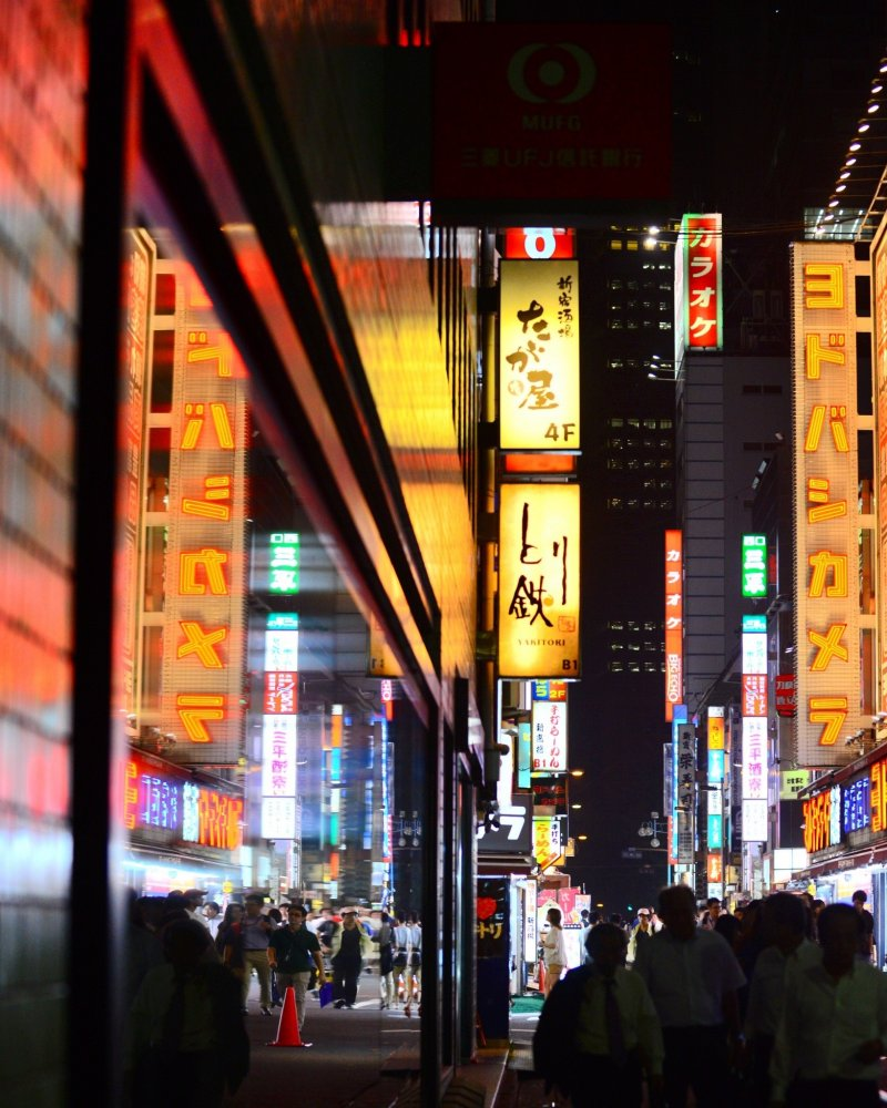 <p>The colorful neon advertisements light up the whole area.</p>