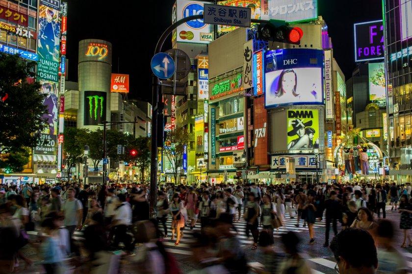 Shibuya Crossing in Shibuya City, central Tokyo