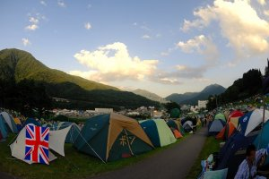 Camping out is a great way to meet the sunrise at the festival!