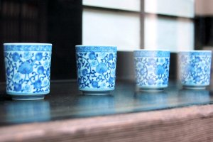 Blue china cups are some of the delightful surprises in the Antique District of Kyoto