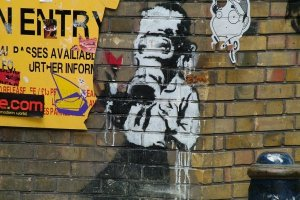 Banksy art in Brick Lane, East End, 2004.