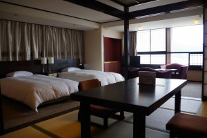 Japanese and Western style of living can be fit into a single room