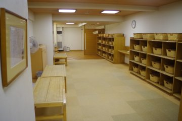 Changing room for visitors of the large communal bath or sento