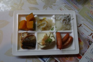 Various types of food for breakfast at Heian no Mori Hotel Kyoto