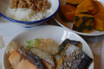 Traditional Japanese items for buffet breakfast