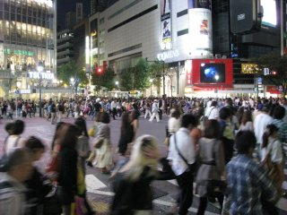 Shibuya is light and lively at night