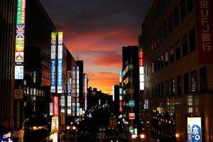 Sunset in central Kashiwa City