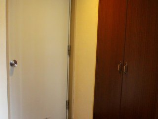 The entrance door and the closet are adjacent to each other.