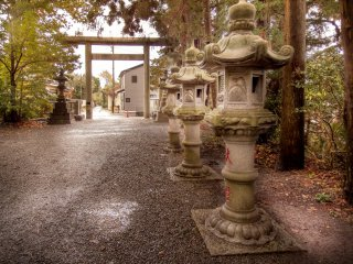 When looking toward the right of the main shrine you can see a large gate which marks the street entrance