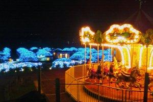 Peter Rabbit villas lit up at night
