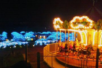 Peter Rabbit villas lit up at night