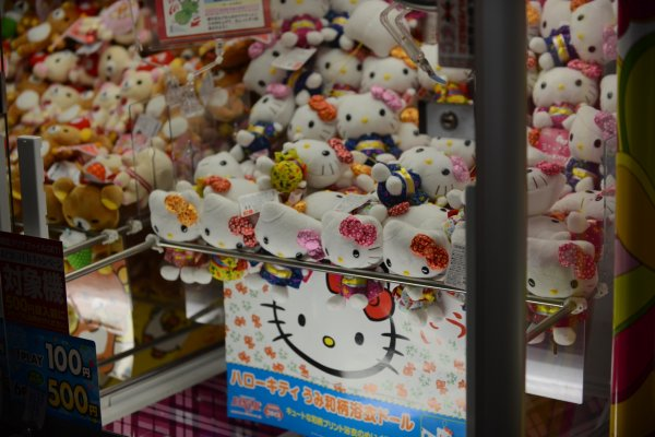 A Hello kitty soft toy machine