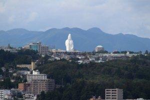 Sendai Daikannon towers over the city