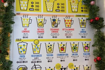 The lemonade menu is extensive
