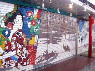 Paintings on the roller doors of Nakamise-dori