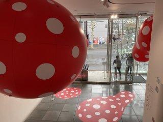 Signature polka dot art in the lobby