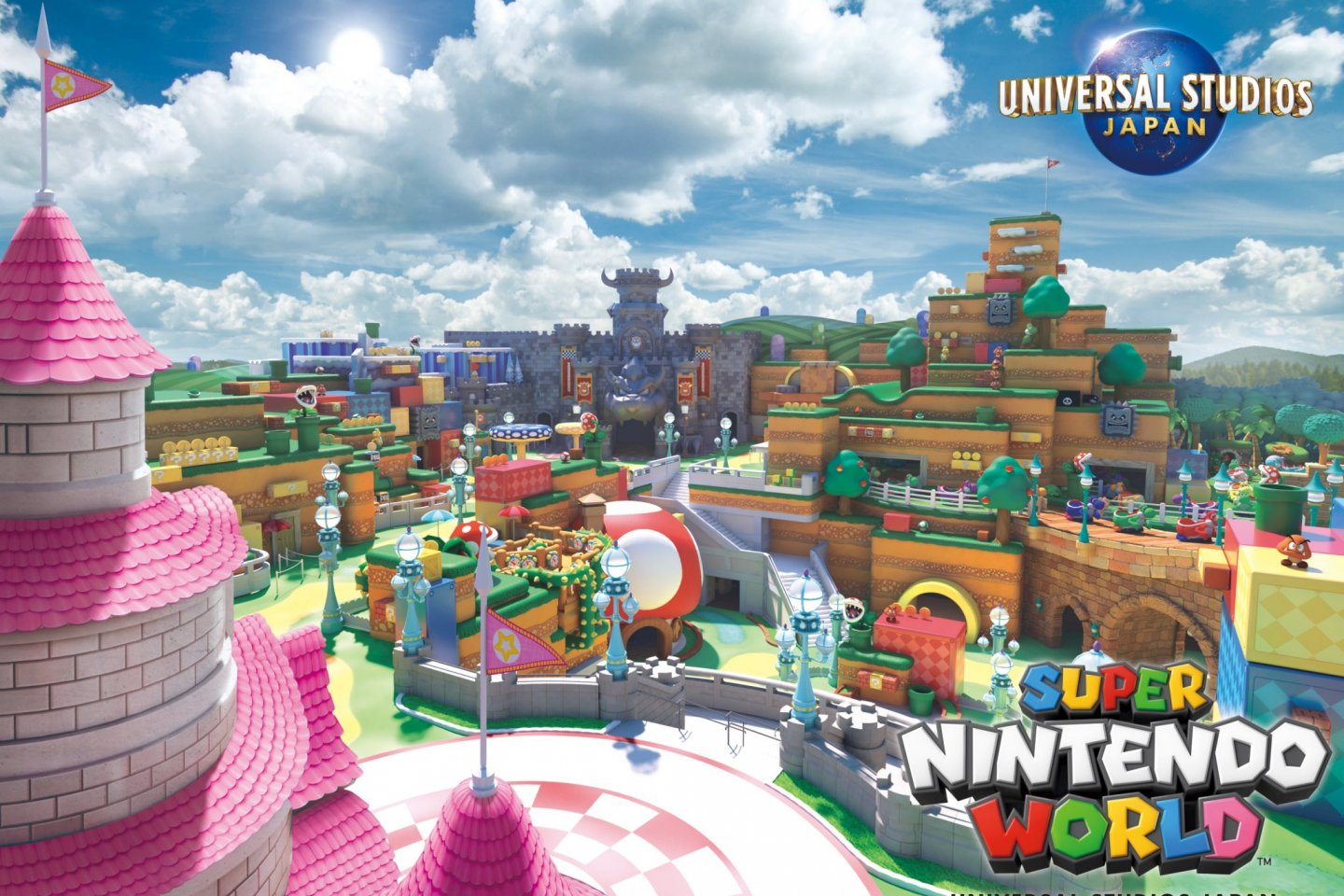 Concept art of the multi-level Super Nintendo World