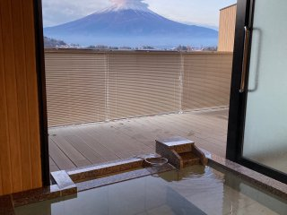 The in-room Onsen allows for a private Onsen view of Mt. Fuji