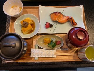 The breakfasts are traditional Japanese fare