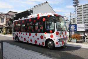 City buses are decorated with the designs of Yayoi Kusama, a citizen of Matsumoto