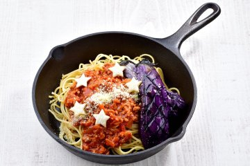 Pasta with meat sauce & eggplant Milky Way Wishes