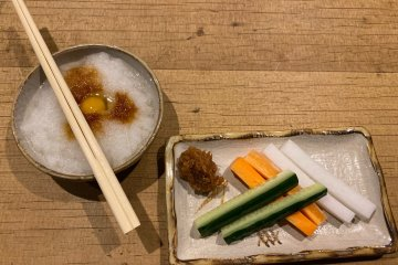 Appetizers include raw vegetables with miso dip and a 'daikon', (white radish) dipping sauce for yakitori