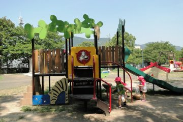 The shaded toddler play area