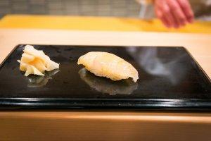 Hirame, flounder sushi