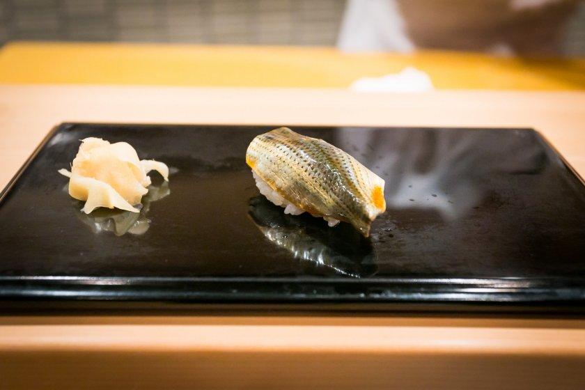 Kohada, gizzard shad sushi