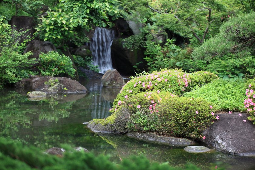 The Japanese style garden at Gunma Flower Park